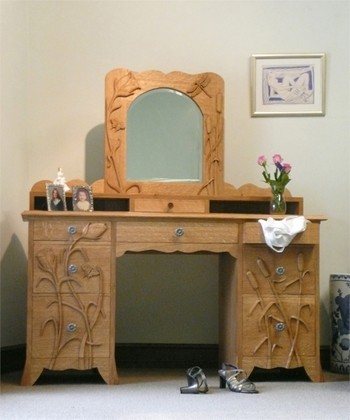 Flowers and Bull Rushes Dressing Table with Mirror