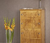 Oak flower chest of drawers